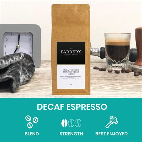 Decaf coffee is coffee made from coffee beans whose most of the caffeine quantity is removed before the process of roasting and grinding. Decaffeinated Espresso Blend Coffee - Farrers Coffee