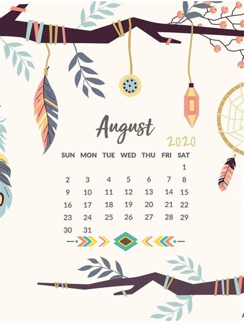 printable august  desktop calendar wallpaper