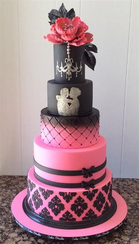 118 best images about pink black cakes on pinterest