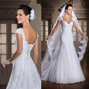 white cap sleeve lace wedding dress bridal gown a line With corset undergarment for wedding dress