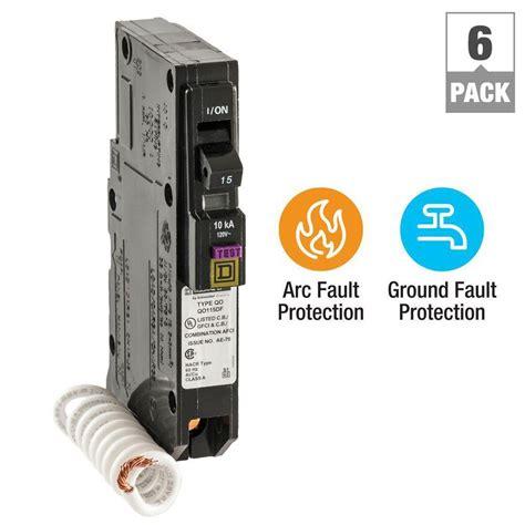 gfci breaker square d qo 15 amp single pole dual function cafci and gfci circuit breaker 6 pack qo115dfc6