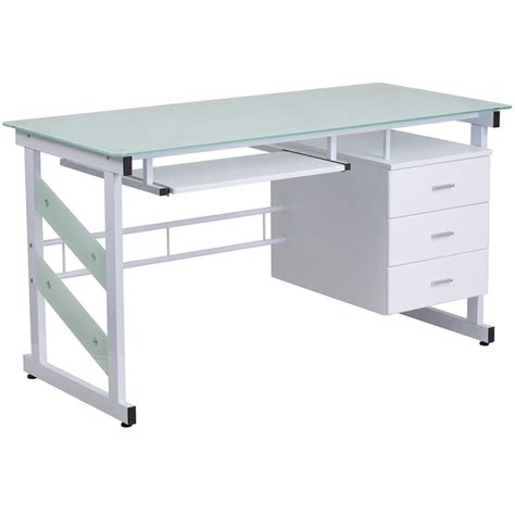glass computer desks for small spaces flora tempered glass desk