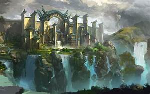 Art, Landscape, City, Castle, Cliffs, Waterfalls, Birds