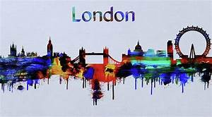 Colorful London Skyline Silhouette Painting by Dan Sproul