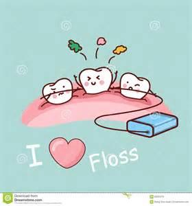 Cartoon Teeth with Dental Floss