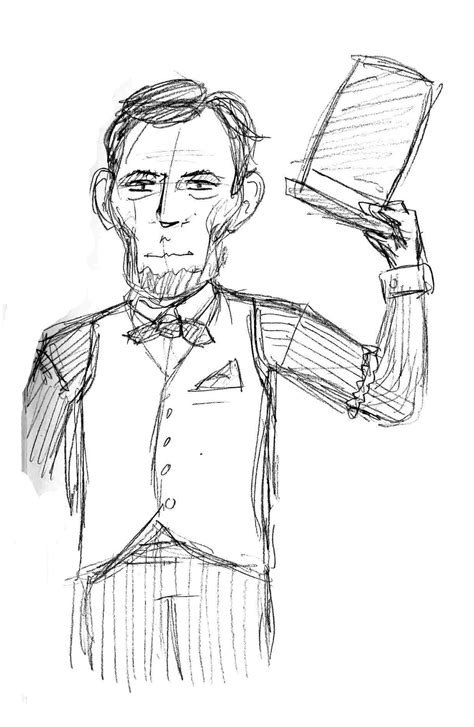 abraham lincoln with hat drawing abe lincoln coloring pages