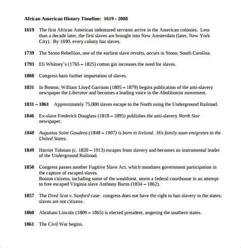 historical timeline templates   samples