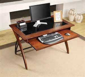 menards wood computer desk whalen 48 quot brown cherry finish genesis glass top writing