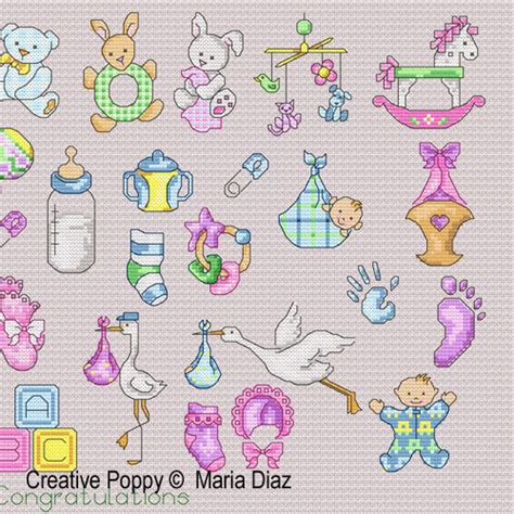baby rattles cross stitching for baby
