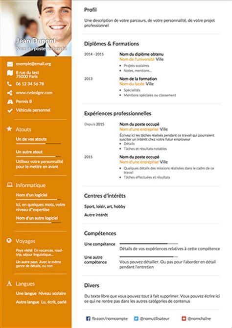 Modele Cv En Ligne Gratuit by Cv En Ligne Gratuit A Imprimer Pdf