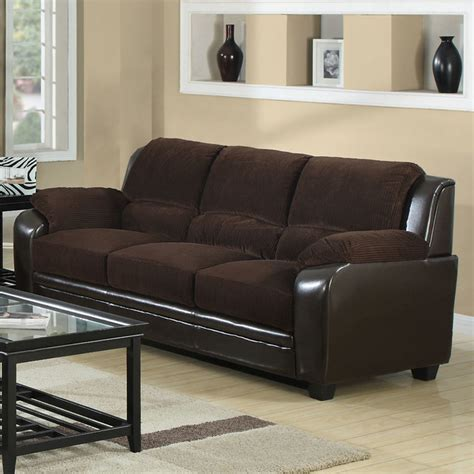 sofa in chocolate corduroy brown leather look