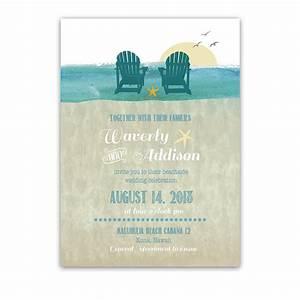 casual beach chairs destination wedding invitations With pop up beach chair wedding invitations