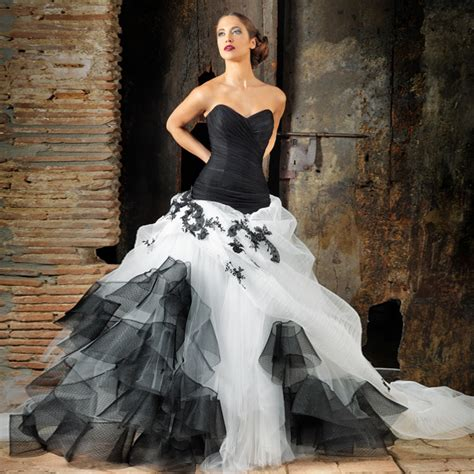 30 ideas of beautiful black and white wedding dresses
