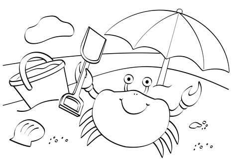 beach scene coloring pages getcoloringpagescom