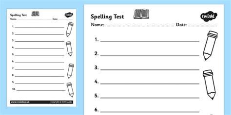 Spelling Test Template Spelling Test Template Worksheet Spelling Test Spelling