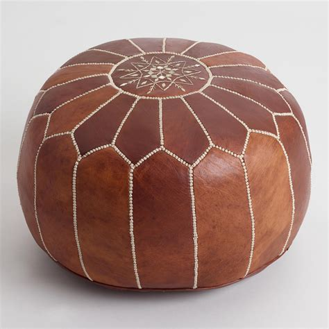 Moroccan Ottoman by Caramel Leather Moroccan Pouf World Market