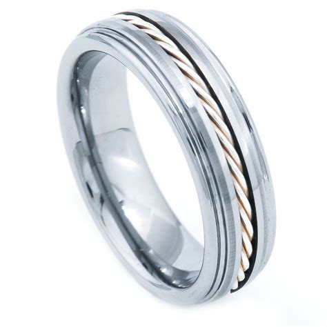 mm tungsten carbide band  silver cable inlay step edge