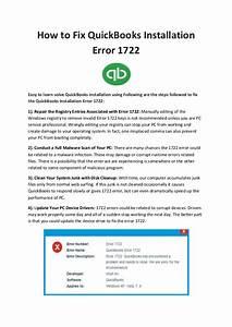 QuickBooks Code Error: How to Fix QuickBooks Errors Error 1722