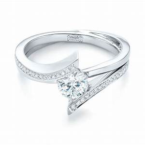 custom tension style diamond engagement ring 103305 With tension wedding rings