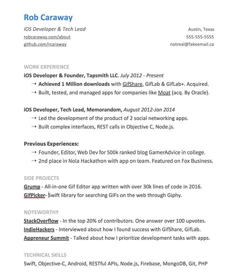 Things To List On A Resume by A Complete Guide To Getting Hired As An Ios Developer