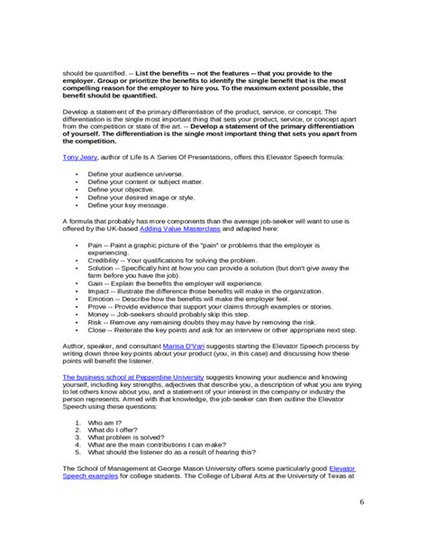 Elevator Pitch Resume by Resume Elevator Pitch Elevator Speech Sle Free