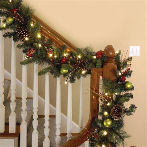 lighted garland for staircase the cordless prelit ornament garland hammacher schlemmer