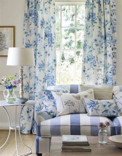 floral blue country curtains in living room