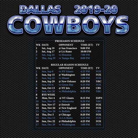 dallas cowboys schedule   printable qualads