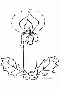 Lighted Candle And Holly Coloring Pages