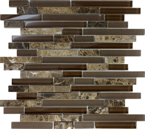 Glass Mosaic Tile Kitchen Backsplash by Sle Brown Glass Linear Mosaic Tile Wall