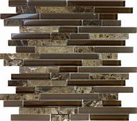 mosaic tile backsplash SAMPLE- Brown Glass Natural Stone Linear Mosaic Tile Wall ...