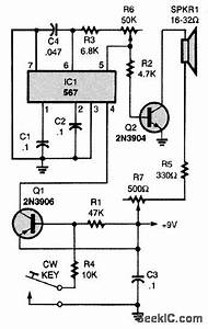 pll code practice oscillator oscillator circuit signal With 2n3906 2n3904 transistor q1 of the headset amplifier circuit amplifies