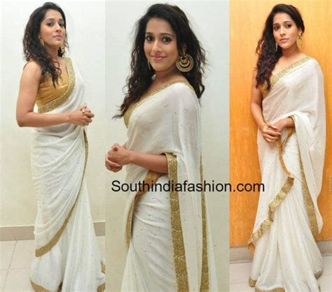 rashmi gautam white saree at gunturtalkies audio launch