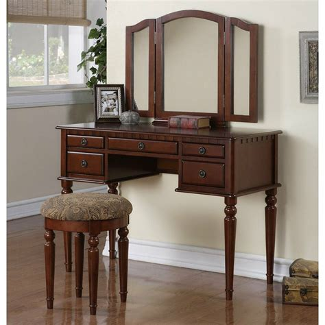 Vanity And Desk by Wood Vanity Set Makeup Table Chair Mirror Dresser Desk