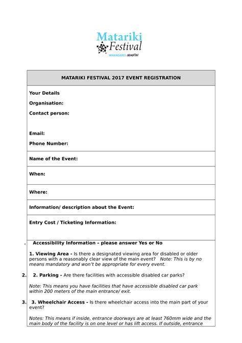 event registration form samples