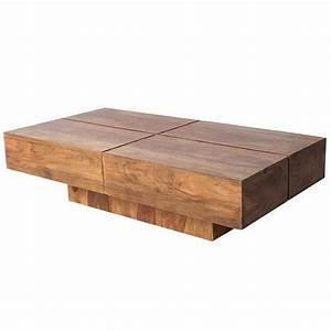 Table Basse Design Bois : casa padrino table basse design en bois massif nature 110 x 30 cm table de salon achat ~ Teatrodelosmanantiales.com Idées de Décoration