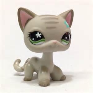 lps gray shorthair cat lps littlest pet shop 483 gray grey striped hair