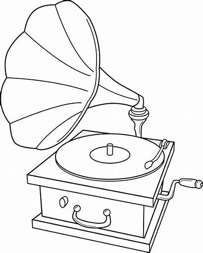 Record Player Drawing Clip Coloring Clipart Gramophone