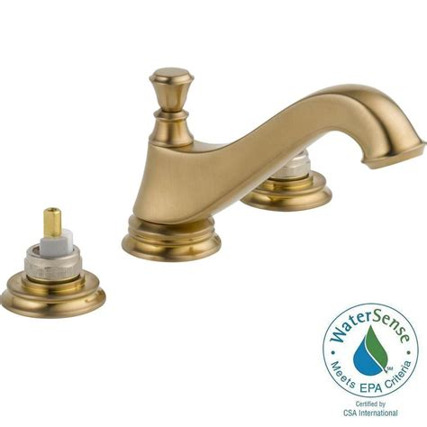 delta cassidy widespread 2 handle low arc bathroom faucet