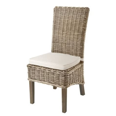 grey kubu rattan seat dining chair with seat pad aspen