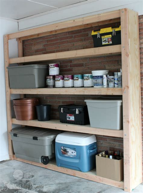 garage shelving unit how to build shelves for your garage for pennies