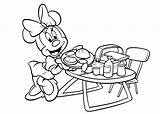 Coloring Pages Bbq Grill Cartoon Minnie Mouse Summer Barbeque Template July sketch template