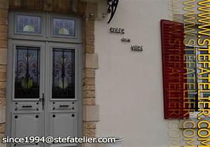 Grille Porte D Entrée : vitrail porte d entr e avec grille stef atelier vitraux ~ Melissatoandfro.com Idées de Décoration