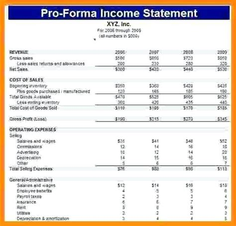 5 Year Pro Forma Template by Pro Forma Financial Statements Excel Template Income