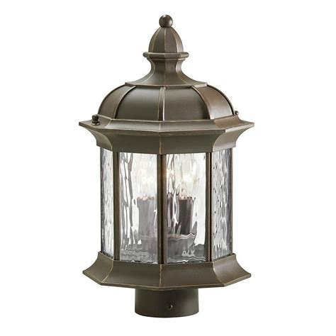 lowes l post lights shop kichler brunswick 15 35 in h olde bronze post light