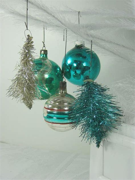 vintage mercury glass ornaments teal silver christmas