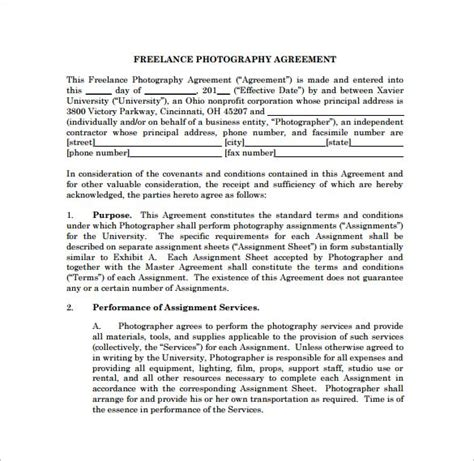 freelance photography contract  template