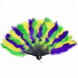 Mardi Gras Feather Fan [57221] - MardiGrasOutlet com