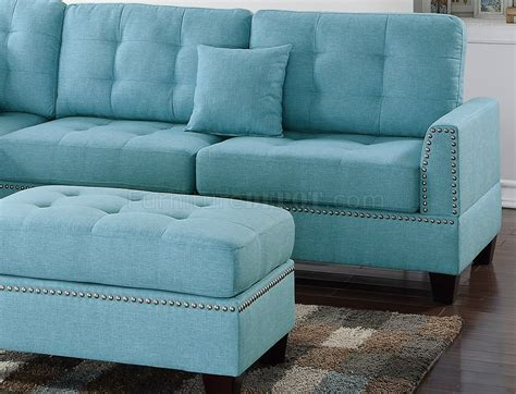 sectional sofa  light blue fabric  boss  ottoman