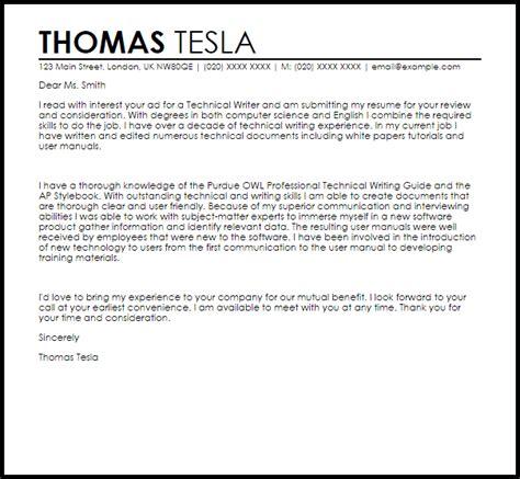 technical writer cover letter sample cover letter
